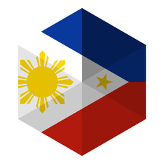 Philippines Flag Hexagon Flat Icon Button