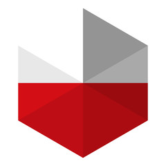 Poland Flag Hexagon Flat Icon Button