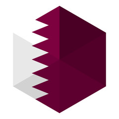 Qatar Flag Hexagon Flat Icon Button