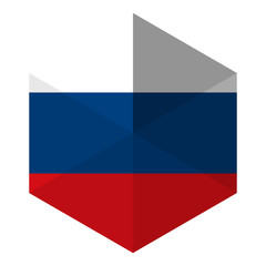Russia Flag Hexagon Flat Icon Button