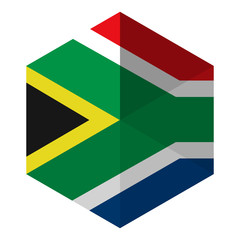 South Africa Flag Hexagon Flat Icon Button