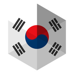 South Korea Flag Hexagon Flat Icon Button