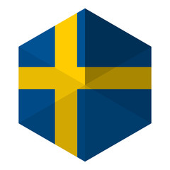 Sweden Flag Hexagon Flat Icon Button