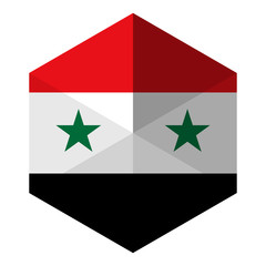 Syria Flag Hexagon Flat Icon Button