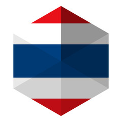 Thailand Flag Hexagon Flat Icon Button