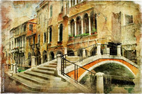 Aluminium Venetie Venice' streets. artistic picture