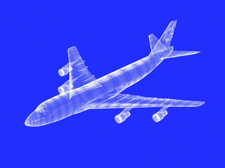 model of jet airplane isolated on blue