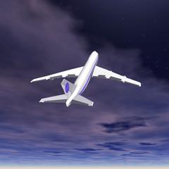 Flying jet airplane. 3D render.