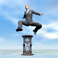 Businessman jumping upon hourglass - 3D render