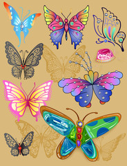Tattoo butterfly jewellery set print cloth