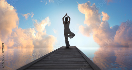 canvas print picture Yoga am See