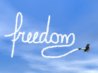 Freedom text from biplan smoke - 3D render