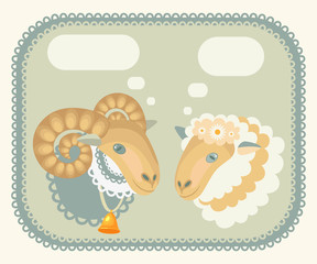 sheep and sheep in the box with fields for text