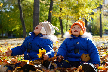 Portrait of children have fun outdoor. Little girls playing with