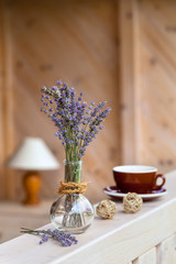 Beautiful lavender bunch in rustic home style setting
