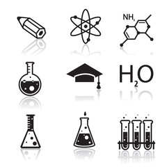 Colored chemistry icons  for learning and web applications