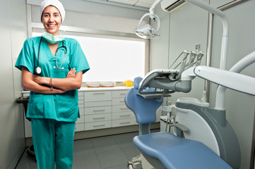 portrait of dentist doctor smiling