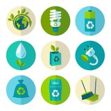 Ecology and waste flat icons set