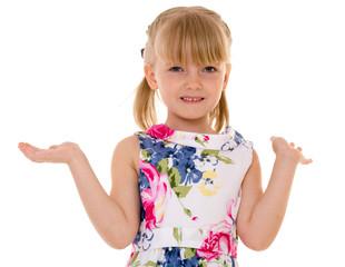 positive surprised little girl waving hands.