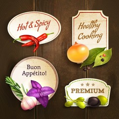 Herbs and spices badges set