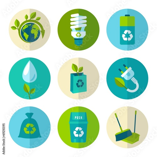 Ecology and waste flat icons set - 69210395
