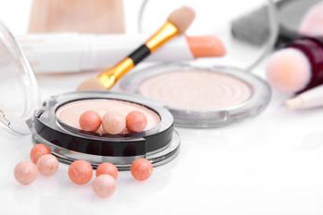 ball powder and eyeshadows , macro shot