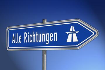Richtung Autobahn, verkehrsschild, rechts