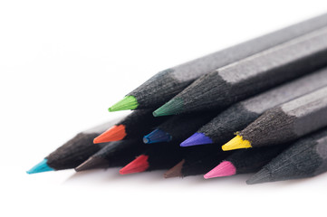 Black Colored Pencils on white background