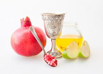 Rosh hashana Kiddush cup honey pomegranate and apple