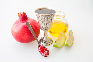 Rosh hashana Kiddush cup honey pomegranate and apple