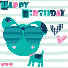 happy birthday dog vector illustration