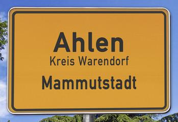 Ahlen, Mammutstadt, Ortsschild