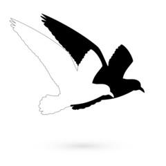 Stencil black and white bird. Raster