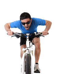 sport man riding bike training hard fitness and competition