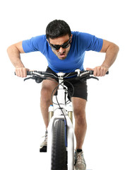 sport man riding bike training hard in fitness and competition