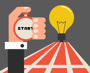 Way to success with idea light bulb, flat design vector