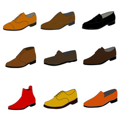 Icons of different color shoes. Raster
