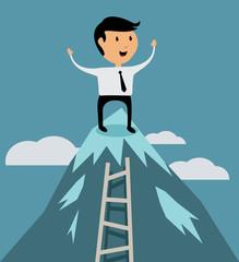 Successful businessman at peak of career concept