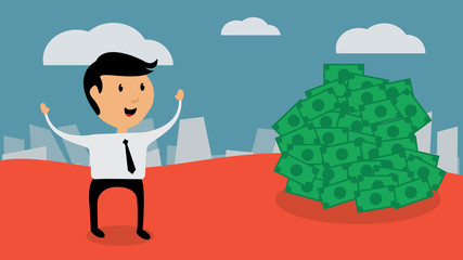 Successful businessman find money, flat design vector