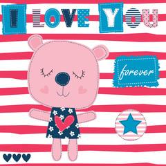 i love you teddy bear vector illustration