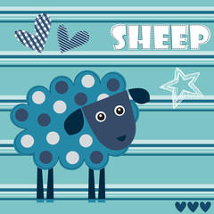 dot sheep lamb vector illustration