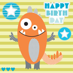 happy birthday monster vector illustration