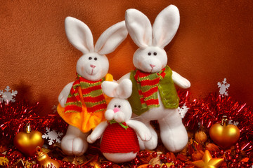 the family of christmas rabbits