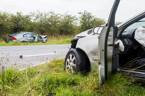 Leinwandbild Motiv Verkehrsunfall - Zusammenstoß