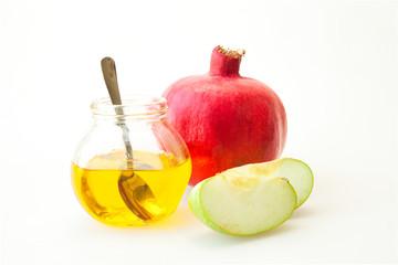 Pomegranate Honey and sliced apple