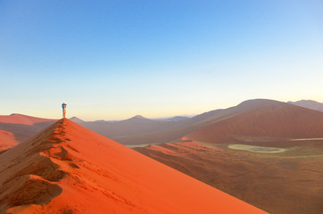 Sunrise dunes in Namib desert, Sossusvlei, South Africa