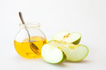 Honey and sliced appels for Rosh Hashana
