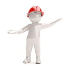 3D man in helmet