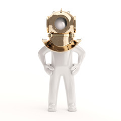 3d Little retro diver