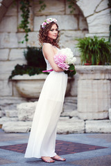 Attractive beautiful woman in greek style